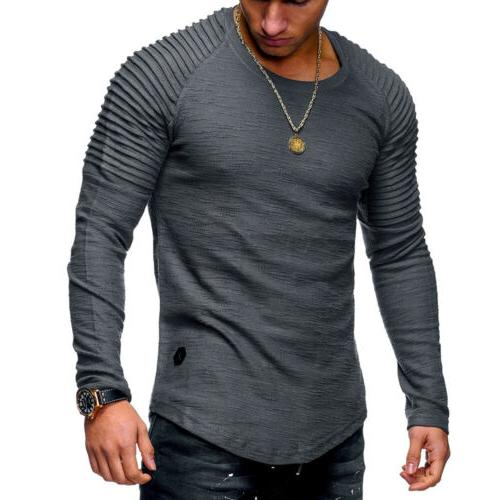 Men Clothes Long Slim Tee Casual Tops Blouse