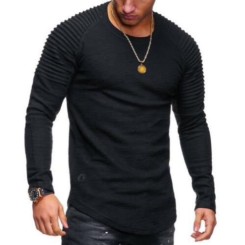 Men Clothes Slim O-Neck Tee Tops Blouse