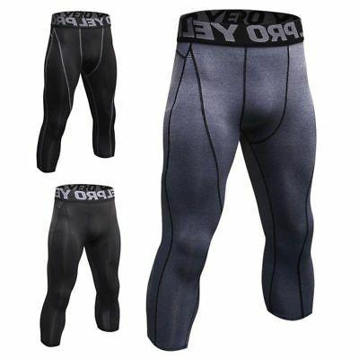 Mens Compression Shorts 3/4 Cropped Pants Gym Clothes Base L