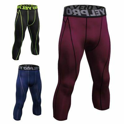 Men Compression Cropped Pants Base Running Tights