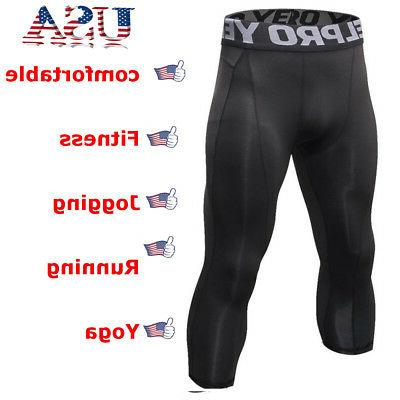 men compression shorts 3 4 cropped pants