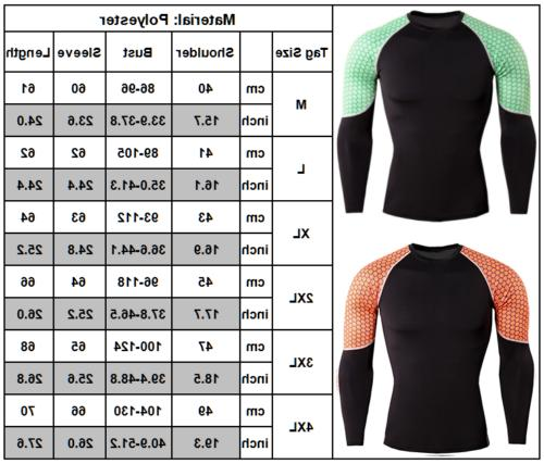 Mens Compression Long Base T-Shirt Sports Muscle US