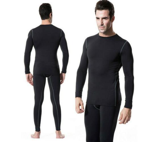 men compression thermal underwear set top