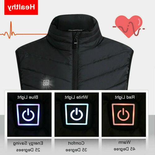 Men Electric Vest Jacket Warm Up Pad Cloth Body US