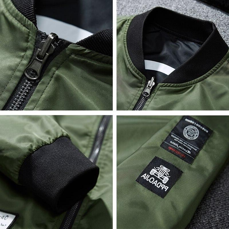 Men <font><b>Jacket</b></font> Both Side Wear <font><b>Casual</b></font> Man Pilot Patches Coat