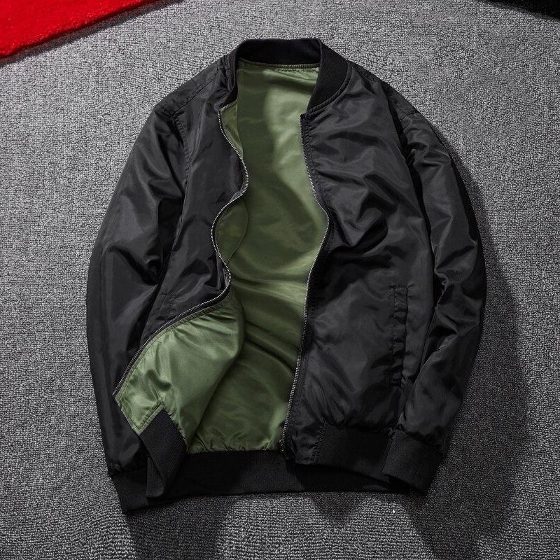 Men <font><b>Bomber</b></font> Man Pilot with Patches Green Thin Coat