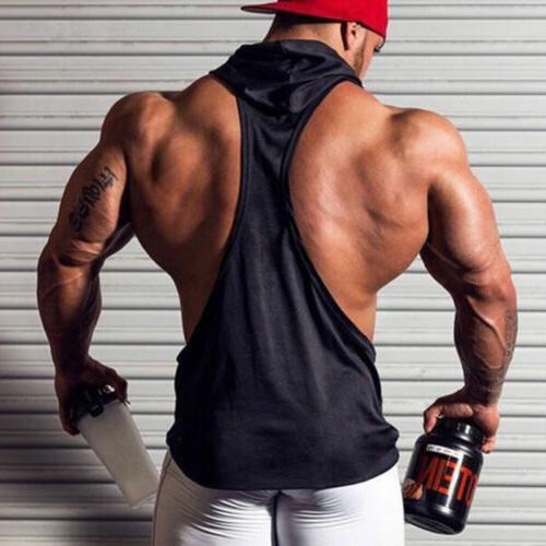 Men Gym Bodybuilding Stringer Hoodie Tank Muscle Shirt Vest