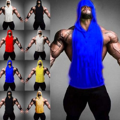 men gym clothing bodybuilding stringer hoodie tank