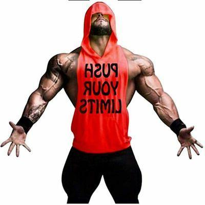 Men Gym Stringer Hoodie Vest Top Muscle