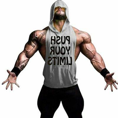 Men Hoodie Bodybuilding Tank Top Muscle Hooded