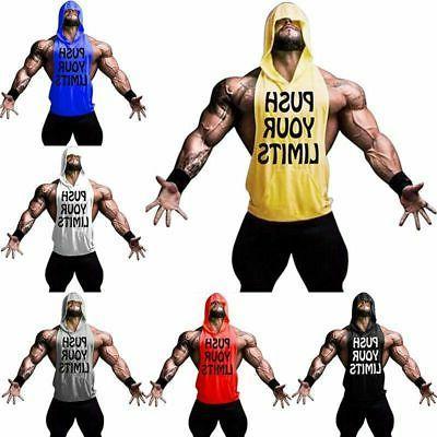Men Hoodie Top Muscle Hooded