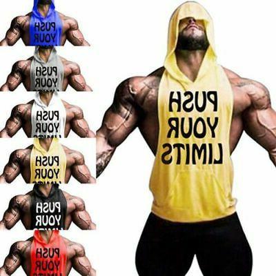 men gym clothing stringer hoodie vest bodybuilding