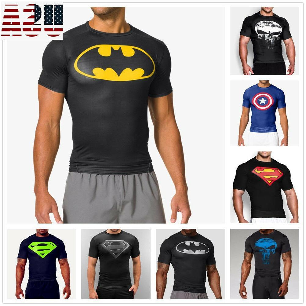 men gym muscle fit batman fitness cotton
