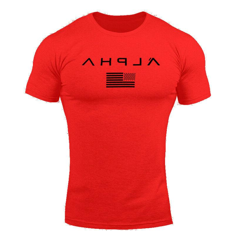 ALPHA Men Muscle Sports Fit Tee Workout Top Athletic Clothes
