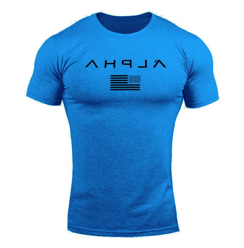 ALPHA Gym T-Shirt Muscle Sports Fitness Fit Tee Athletic