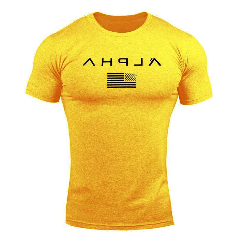 ALPHA Men T-Shirt Muscle Fitness Tee Workout Top Clothes