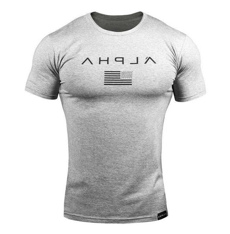 ALPHA Men Gym T-Shirt Muscle Tee