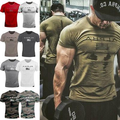 men gym t shirt muscle sports fitness