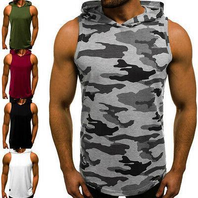 Men Gym Vest Hooded Hat T-Shirt @