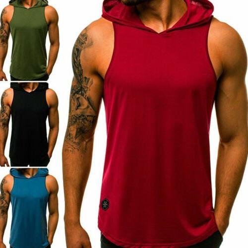 Men Gym Hooded Muscle Stringer Hat Tank @