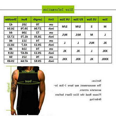 Men Hooded Muscle Clothing Hat T-Shirt Tank @