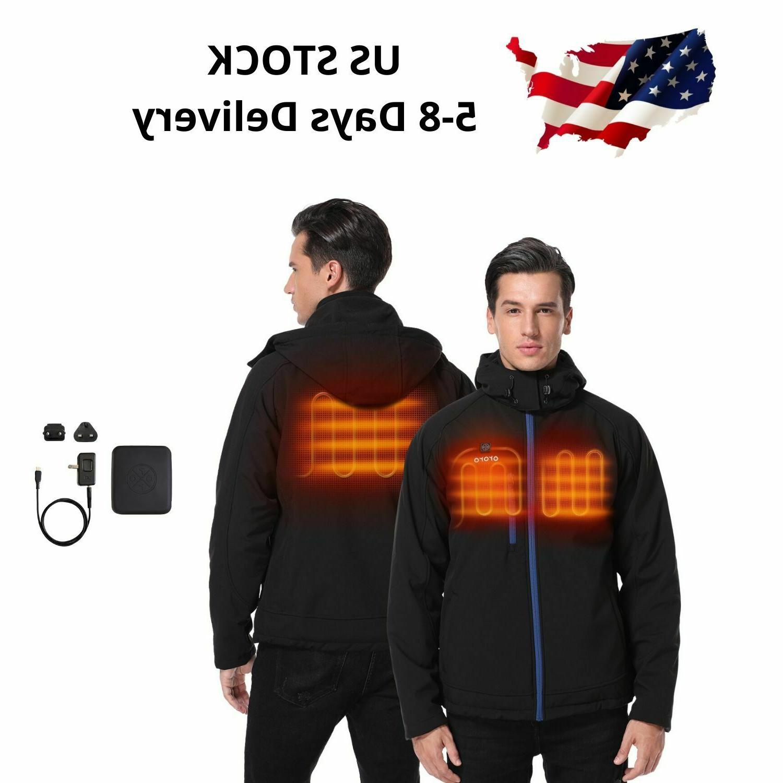 men heated jacket winter heat coat battery