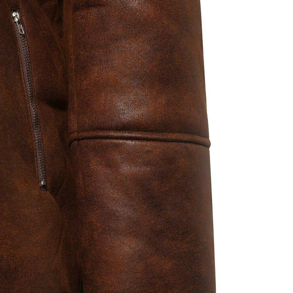 FeiTong Jacket Streetwear Mens Fur Liner ZipperLapel