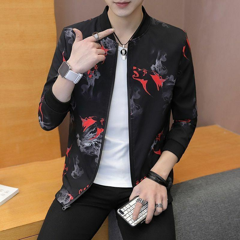 Men Casual Spring Autumn Handsome Coat Printing