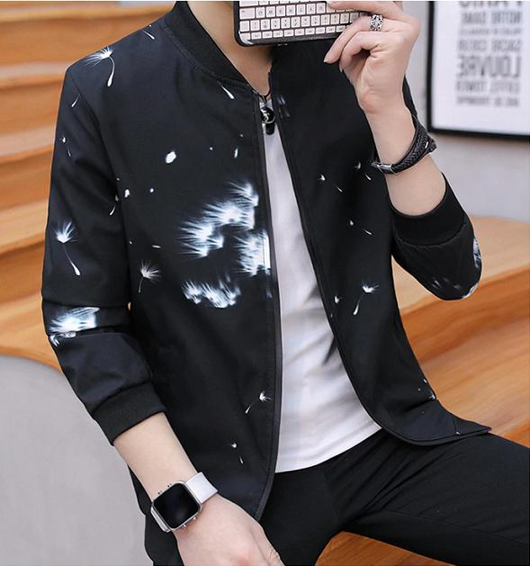 Men Spring Trend Handsome Coat Printing Clothes