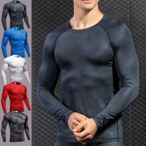 Mens Sports Gym Compression Long Sleeve T-Shirt Base Layer M