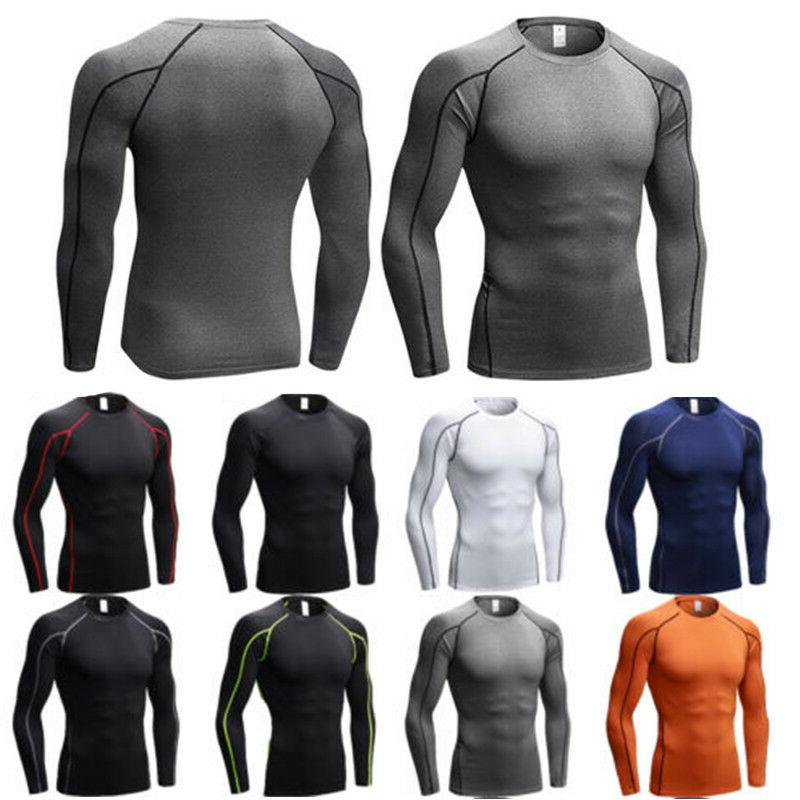Men Sleeve Compression T-Shirt Under Base Layer Fitness Sports Tops