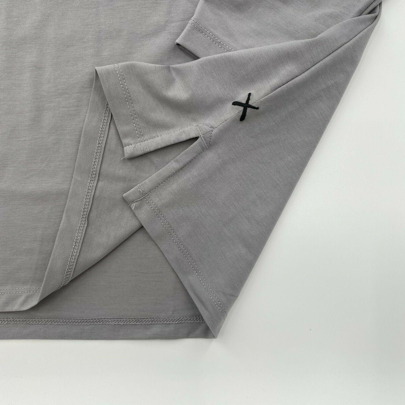 Cuts Clothing Men Sleeve Hem Henley T-Shirt Gray M XL
