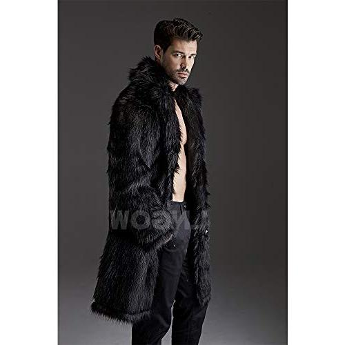 LNGOW Men Fur Jacket Winter Warm Coat Outerwear
