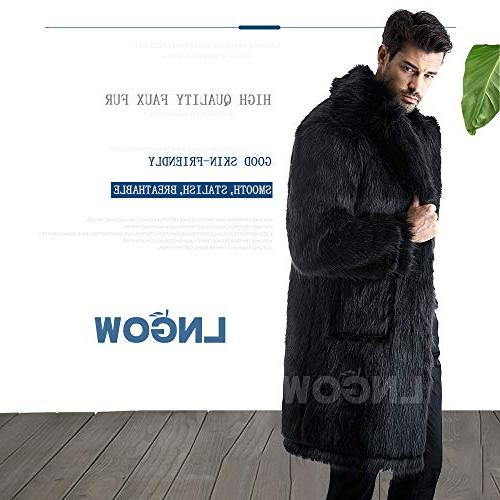 LNGOW Men Fur Jacket Winter Warm Soft Outerwear