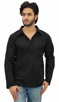 Atasi Men's Black Kurta Roll-Over Shirt Collar Neck Ethnic I