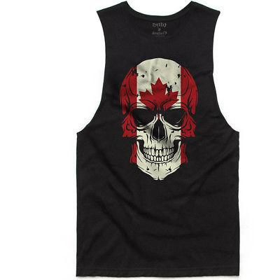 Men's Fifty5 Clothing Canadian Flag Skull Muscle Tank Top Bl
