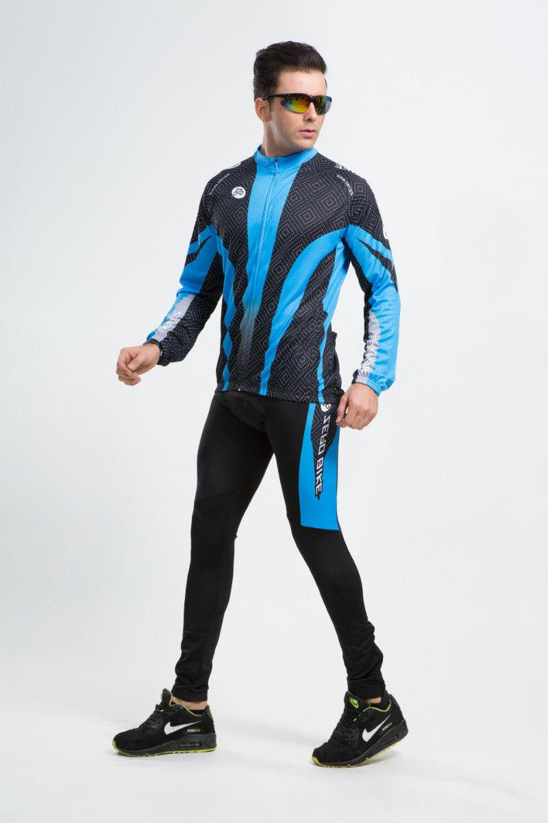 Men's Cycling Jersey Suits Bicycle Clothing Long Sleeve Shirts Bike Pants