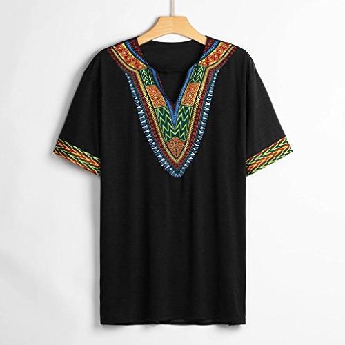 Men's Tribal Bright Shirt Traditional Short Blouse
