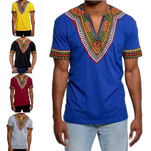 Men's Bright Shirt Short Sleeve Blouse