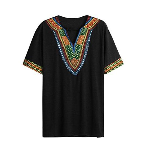 Men's Bright Dashiki Shirt Traditional Short Sleeve Tops Blouse