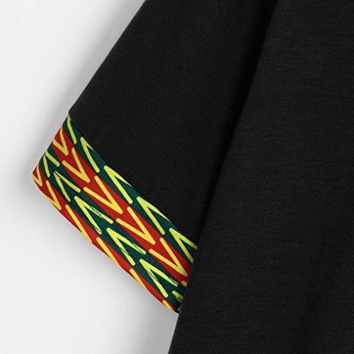 Men's Dashiki, Tribal Bright Dashiki Shirt Short Sleeve Fit Blouse