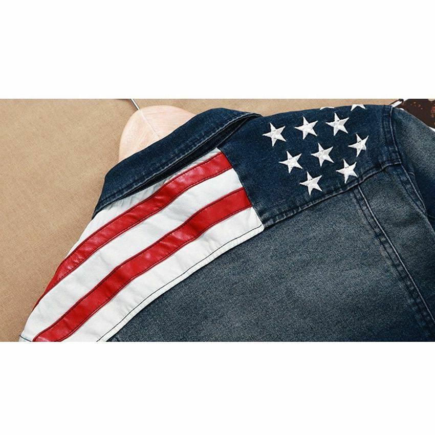 Men's Denim Pocket Star Striped Fit Coats