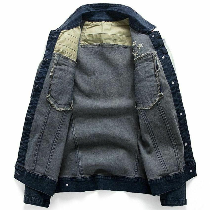 Men's Denim Jean Jackets Pocket Star Fit Coats