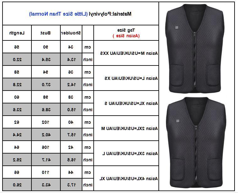 Mens Vest Heated Jacket USB Winter Pad Coat Casual