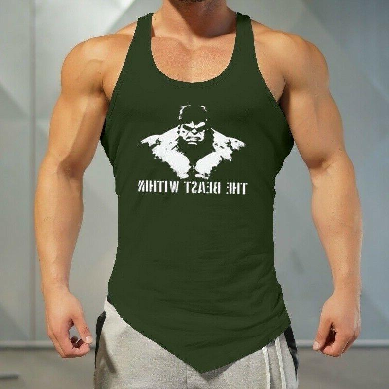 Men's Fashion Hulk Print Tank Top Slim Tops Vest