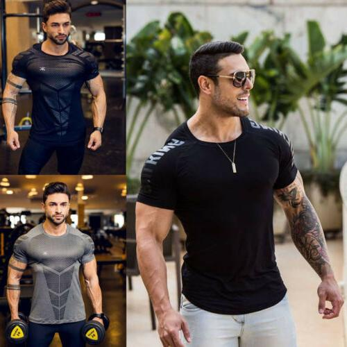 Men's Athletic Drying T-shirt Gym Short Clothing