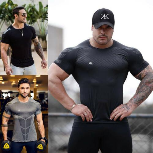 Men's Fitness Athletic Quick Drying Elastic Short Sleeve