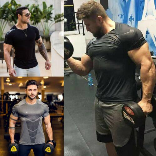 Men's Fitness Drying Elastic T-shirt Gym Short Sleeve