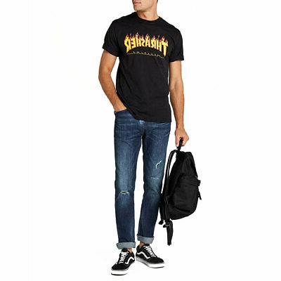 Thrasher Men's Flame Sleeve Shirt Black Clothing Apparel