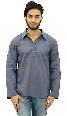 Atasi Men's Gray Kurta Roll-Over Shirt Collar Neck Ethnic In